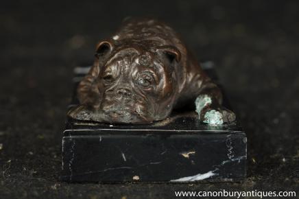 Englisch Bulldogge Bronze Statue Liegen Bull Dog