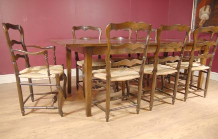 Englisch Oak Refektorium Ladder Chair & Dining Table Set