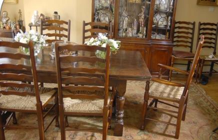 Englisch Oak Refektorium Tisch & Stuhl Ladder Dining Set