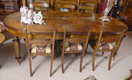 Englisch viktorianischen Walnut Esstisch und 8 Regency Stühle Set