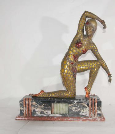 Fan-Tänzer Art Deco Bronze von Chiparus