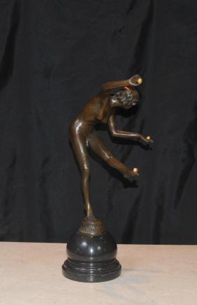 Französisch Art Deco Bronze-Ball Dancer Figur Statue