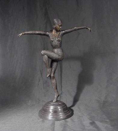 Französisch Art Deco Chiparus Harlekin Dancer Figurine