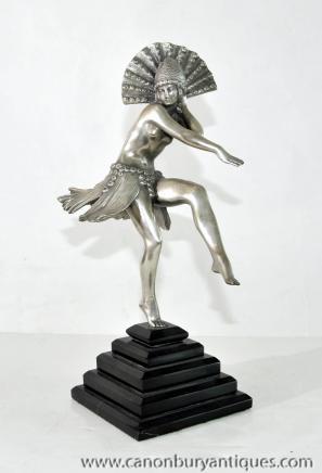 Französisch Art Deco Silber Bronze Statue Tänzerin Figurine 1920er Jahren Flapper