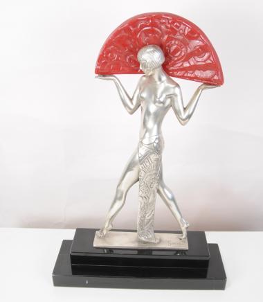 Französisch Art Deco Tischlampe Licht Semi Nude Figur Statue