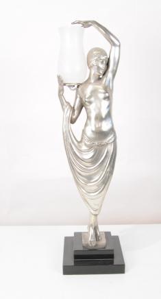 Französisch Art Deco Tischlampe Weiblich Odaliske Figur Statue Lichter