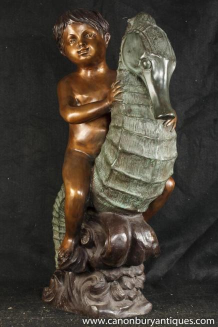 Französisch Bronze Cherub Sea Horse Statue Teich Figurine Boy Casting