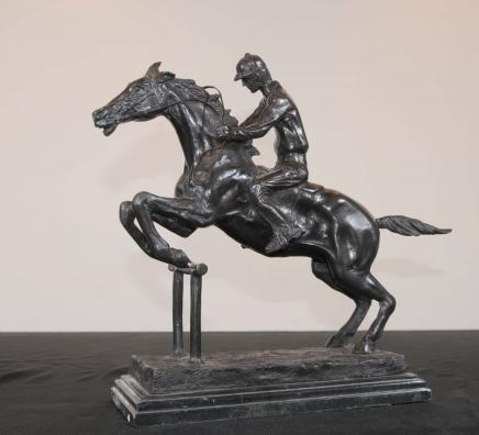 Französisch Bronze Horse Jockey Bonheur Pferde Jump Statue