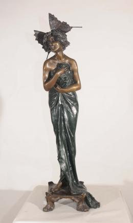 Französisch Bronze Jugendstil-Figur Schmetterlings-Mädchen Signed Alliot