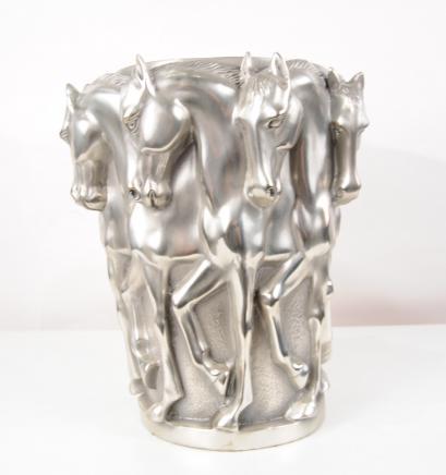 Französisch Bronze Jugendstil Pferde Urne Bowl Planter