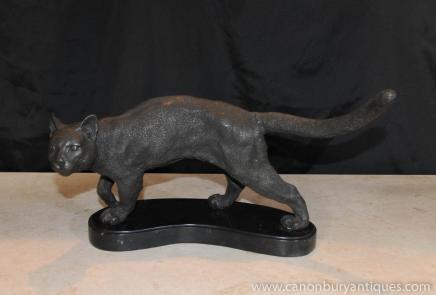 Französisch Bronze Statue Casting Cat Marble Basis