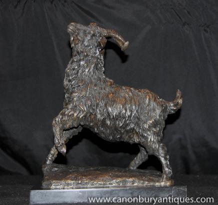 Französisch Bronze Statue Ram Casting Goat Tiere