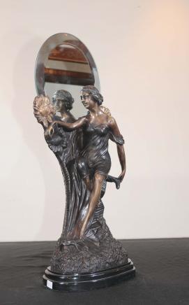 Französisch Jugendstil Bronze Figur Spiegel