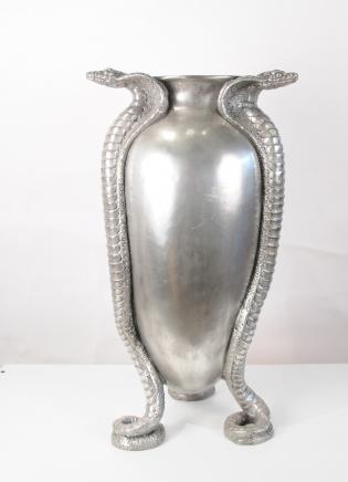 Französisch Jugendstil Silber Bronze Snake Serpent Urne Vase Jean Dunand