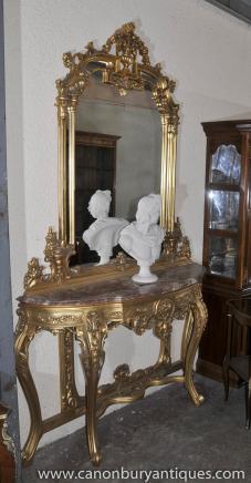 Französisch Reich Gilt Konsolentisch und Spiegel Set Demi Lune Tabellen