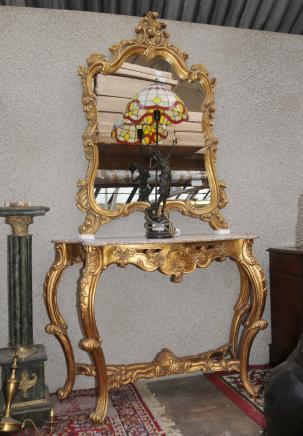 Gilt Französisch Rokoko-Konsoltisch Spiegel Set Hand geschnitzte