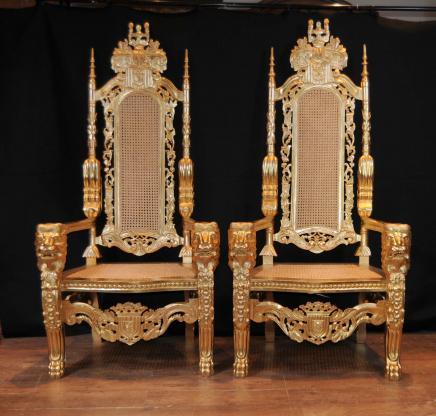 Gilt Pair XL George II Thrones Arm Stühle Sessel Sitze