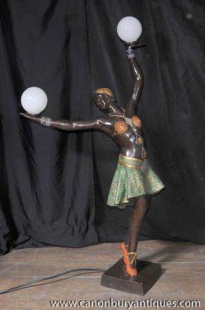 Große Französisch Art Deco Bronze Tänzerin Licht-Lampen-Figur Statue