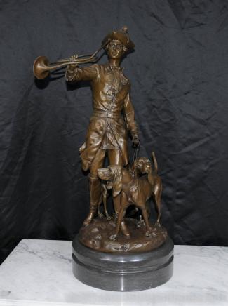 Große Französisch Bronze Statue Hunter Bluthund Statue