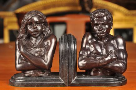 Italienisch venezianischen Bronze Mohr Bust Buchstützen