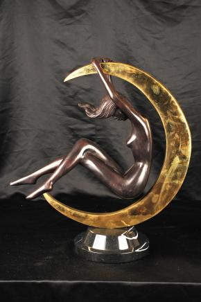 Jugendstil Bronze Nude Female Figurine Mond