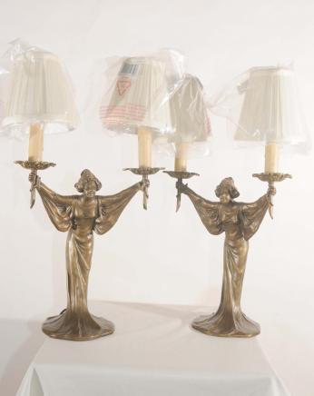 Jugendstil Paar Französisch Bronze Figurine Tischleuchten Lichter