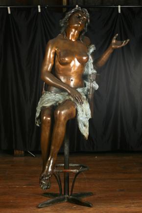 Lifsize Bronze Weiblicher Akt Hocker Figur Kunst Nouveau Naked Lady