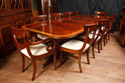 Mahagoni Regency Dining Set Pedestal Table & Matching Swag Stühle