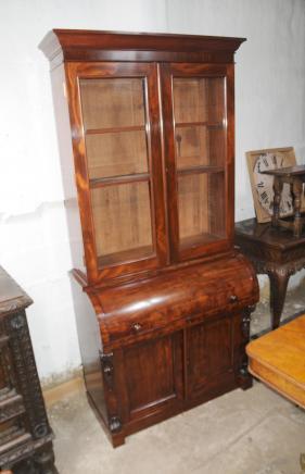Mahagoni viktorianischen Zylinder Bureau Bücherschrank Schreibtisch