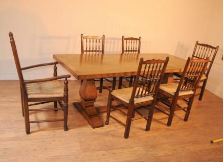 Oak Kitchen Diner Stuhl Set Refektorium Tisch und Stühle Spindleback