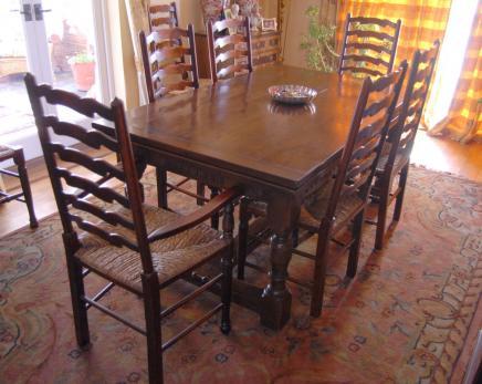 Oak Refektorium Tabelle Set Ladder Stühle Küche Esszimmer