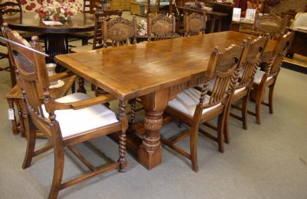 Oak Refektorium Tabelle Set William Mary Bauernhof Stühle Küche