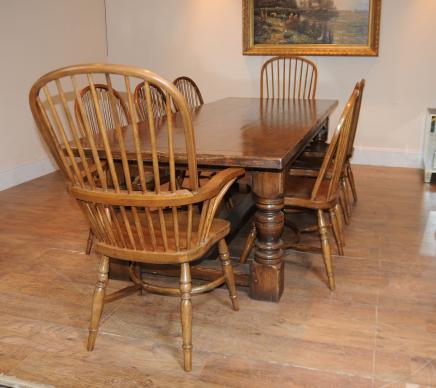 Oak Refektorium Tabelle Windsor Stuhl Set Bauernhaus Küche