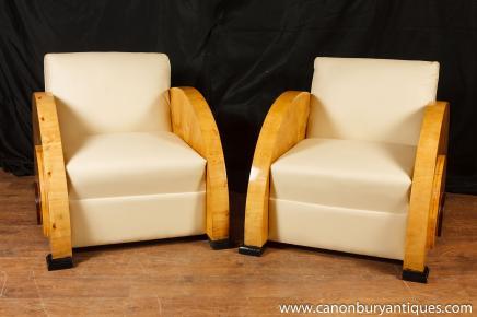 Paar Art Deco Clubsessel Blonde Walnuss Sitzmöbel der 1920er Jahre