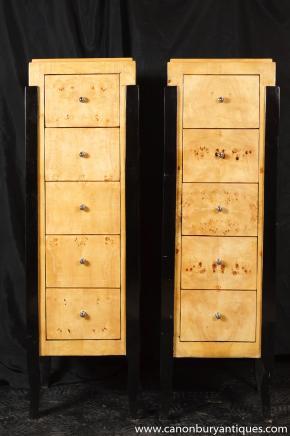 Paar Art Deco Kommode Schubladen Tall Boy Schränke 1920er Jahren Möbel