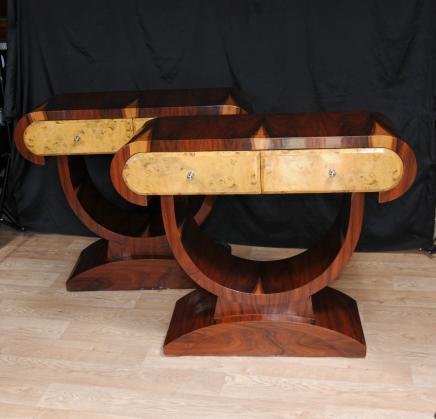 Paar Art Deco Konsole Tabellen Halle Tisch Blonde Walnuss 1920er Jahren