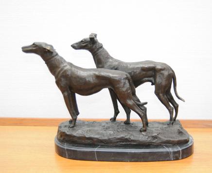 Paar Bronze Windhund Hunde Signed Fremiet