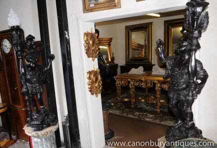 Paar Italienisch Dwarf Bronze Mohr torcheres Statuen Kerzenleuchter