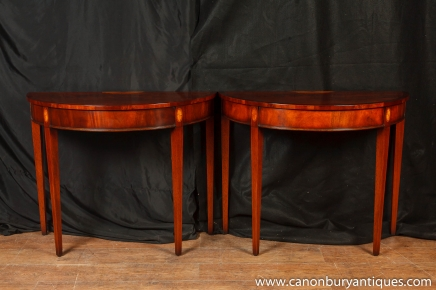 Pair Flamme Mahagoni Demi Lune Console Tables Regency Tabelle