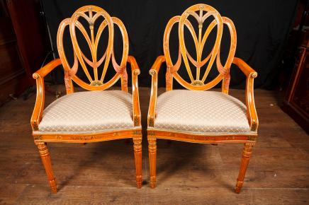 Pair Hepplewhite Arm Stühle Dining Chair Möbel Regency