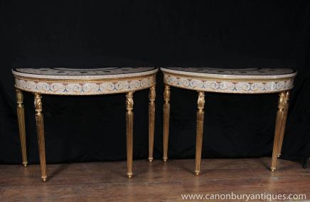 Pair Regency Adams Painted Console Tabellen Halle Tisch