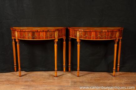 Pair Regency Adams demilune Console Tabellen Painted Satinwood