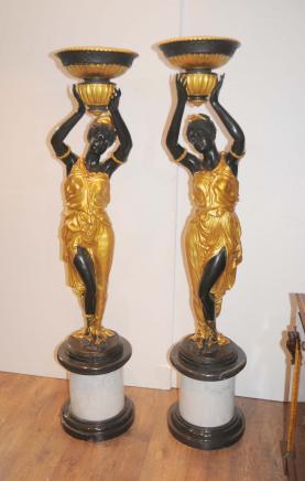 Pair XL Italienisch Bronze Mohr Statuen Männlich Figuren Geschirr