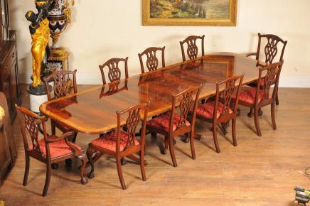 Regency Dining Set Pedestal Tisch und 10 Stühle Chippendale Mahagoni Suite