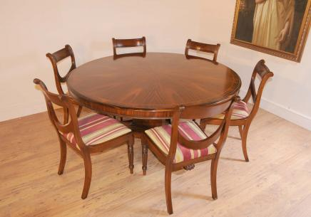 Regency Dining Set Runde Tisch & Stühle Mahagoni Swag