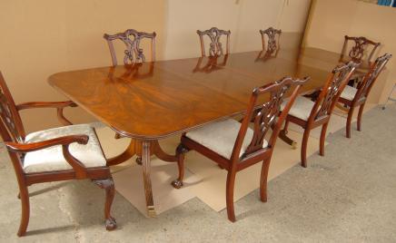 Regency Pedestal Esstisch Chippendale Stuhl Set