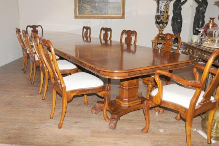 Regency Walnut Dining Set Queen Anne Stühle Tisch