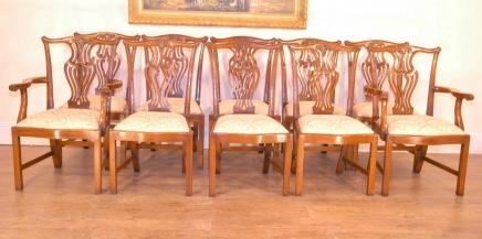 Set 10 English Chippendale Esszimmerstühle Harfe Backs