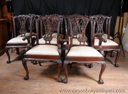 Set 10 Mahagoni Chippendale Esszimmerstühle Ball-Greifer Feet Diner Stuhl