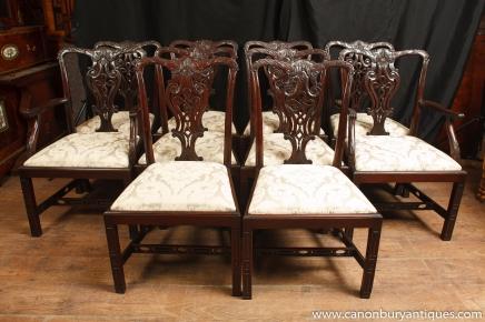 Set 10 Mahagoni viktorianischen Dining Chairs Gothic Chair Diner